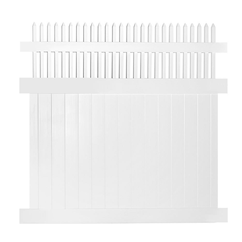 Tremont 5 ft. x 6 ft. White Vinyl Privacy Fence Panel Kit