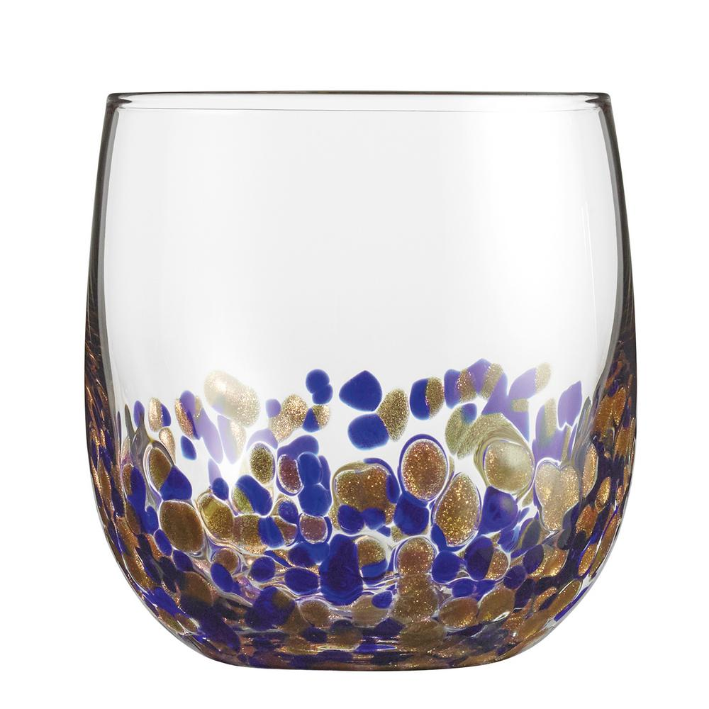 14.5 oz. Double old fashioned Glasses Accented with Blue and Gold