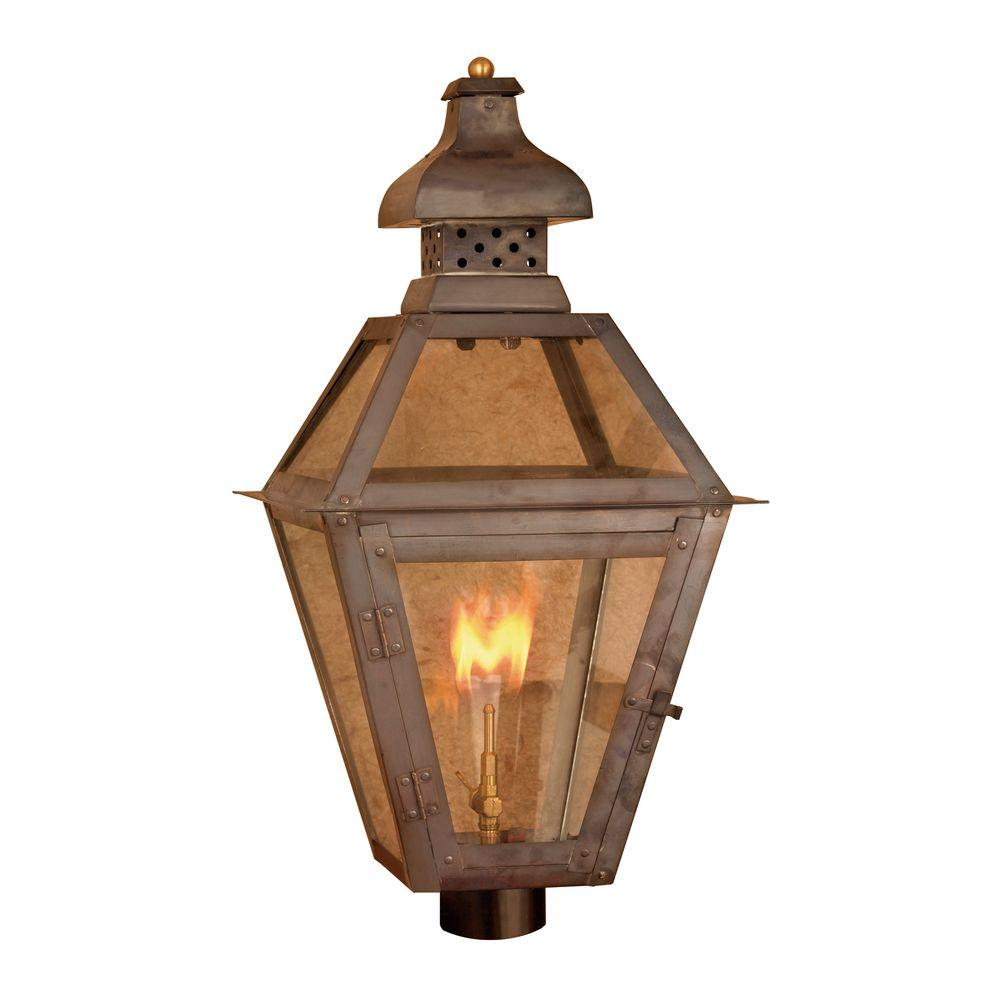 Titan Lighting Maryville 26 in. Outdoor Washed Pewter Gas Wall Lantern