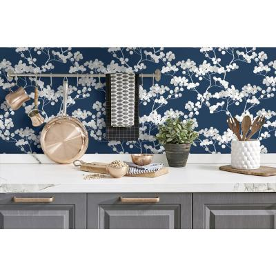 Navy Blue and Grey Cyprus Blossom Peel and Stick Wallpaper 30.75 sq. ft.