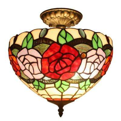 Tiffany Style 2-Light Roses Pendant Lamp 12 in. Wide