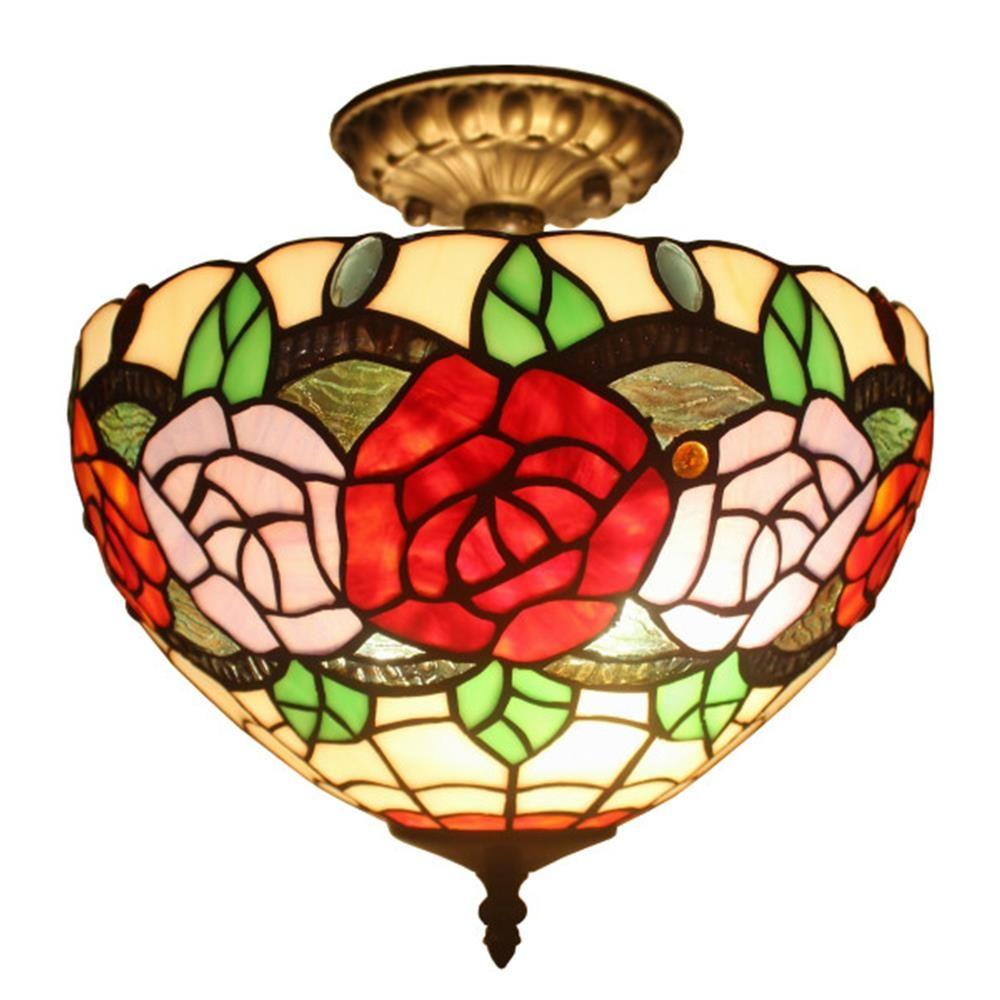 Amora Lighting Tiffany Style 2 Light Roses Pendant Lamp 12 In Wide