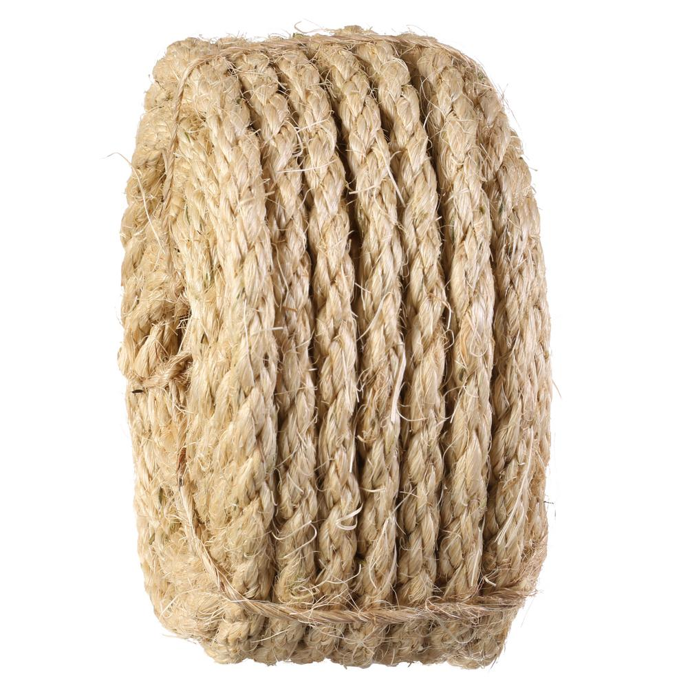 Everbilt 3/8 in  x 50 ft  Twisted Sisal Rope, Natural