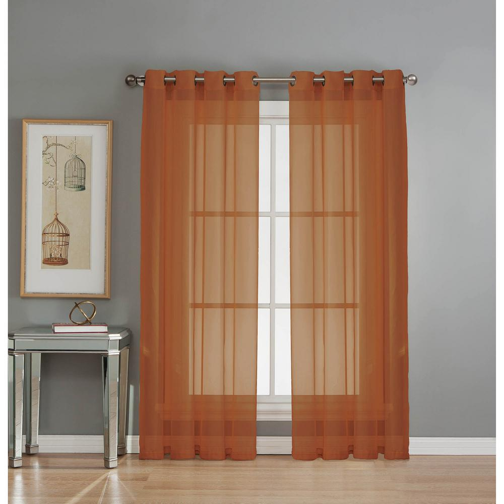 Window Elements Sheer Diamond Sheer Voile Rust Grommet Extra Wide Curtain Panel 56 In W X 90