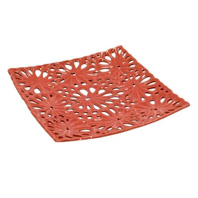 1.25 in. Decorative Red Ceramic Pierced Plate with Glossy