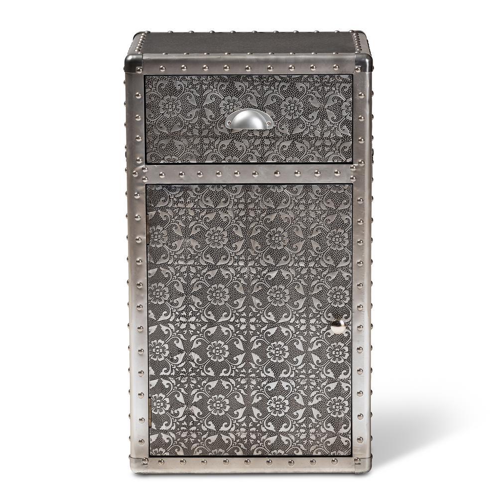 Baxton Studio Cosette Silver Accent Storage Cabinet 154-9186-HD