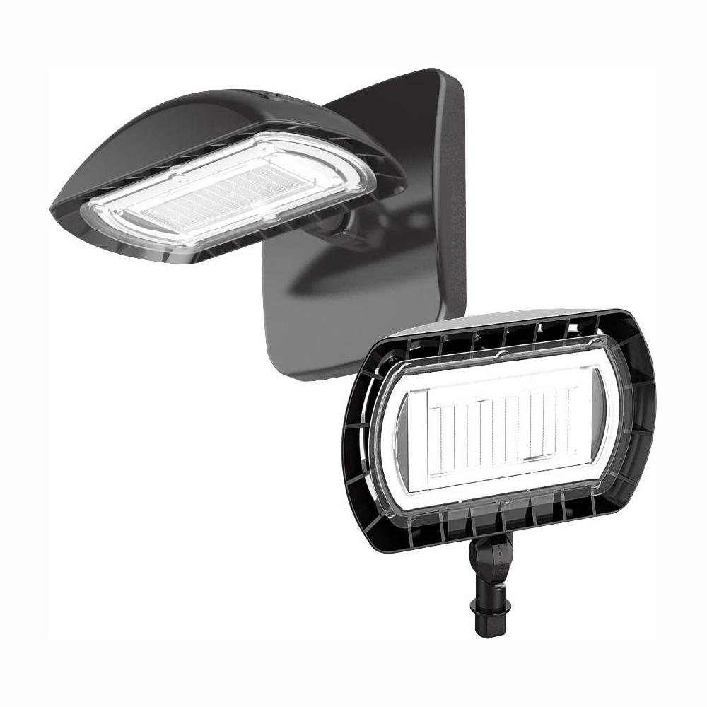 Commercial Electric Large Bronze Outdoor Integrated LED Floodlight with Wall Pack Mount 3000 Lumens and DLC-Rating