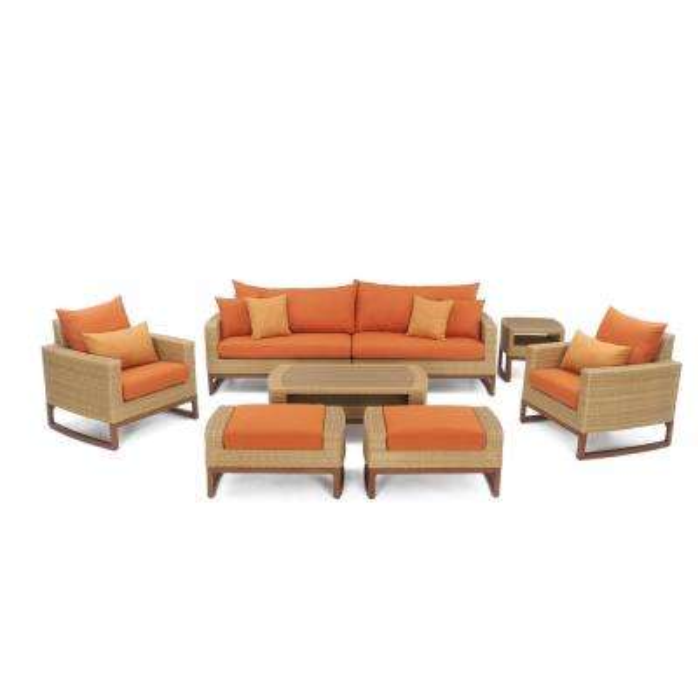 Mili 8-Piece Wicker Patio Deep Seating Conversation Set with Sunbrella Tikka Orange Cushions