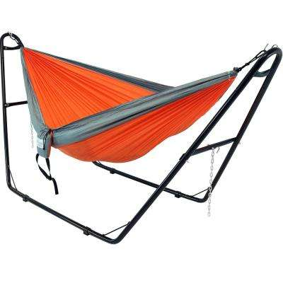 10 ft. Free Standing Nylon Parachute 2-Person Camping Hammock with Stand in Orange and Gray