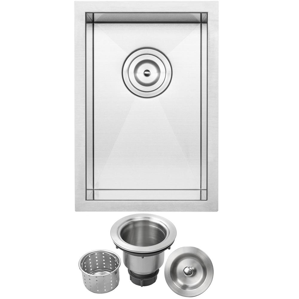 Pacific Zero Radius Undermount 16 Gauge Stainless Steel 12 In. Single Basin  Kitchen And Bar Sink With Basket Strainer