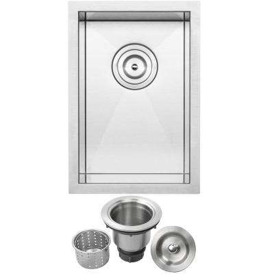 Pacific Zero Radius Undermount 16-Gauge Stainless Steel 12 in. Single Basin Kitchen and Bar Sink with Basket Strainer