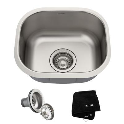 Premier 16 Gauge Stainless Steel 15 in. Undermount Bar Sink