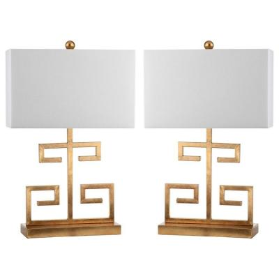 Greek 24 in. Gold Key Table Lamp with Off-White Shade (Set of 2)