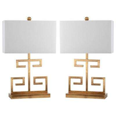 Greek Key 24 in. Gold Table Lamp with Off-White Shade (Set of 2)