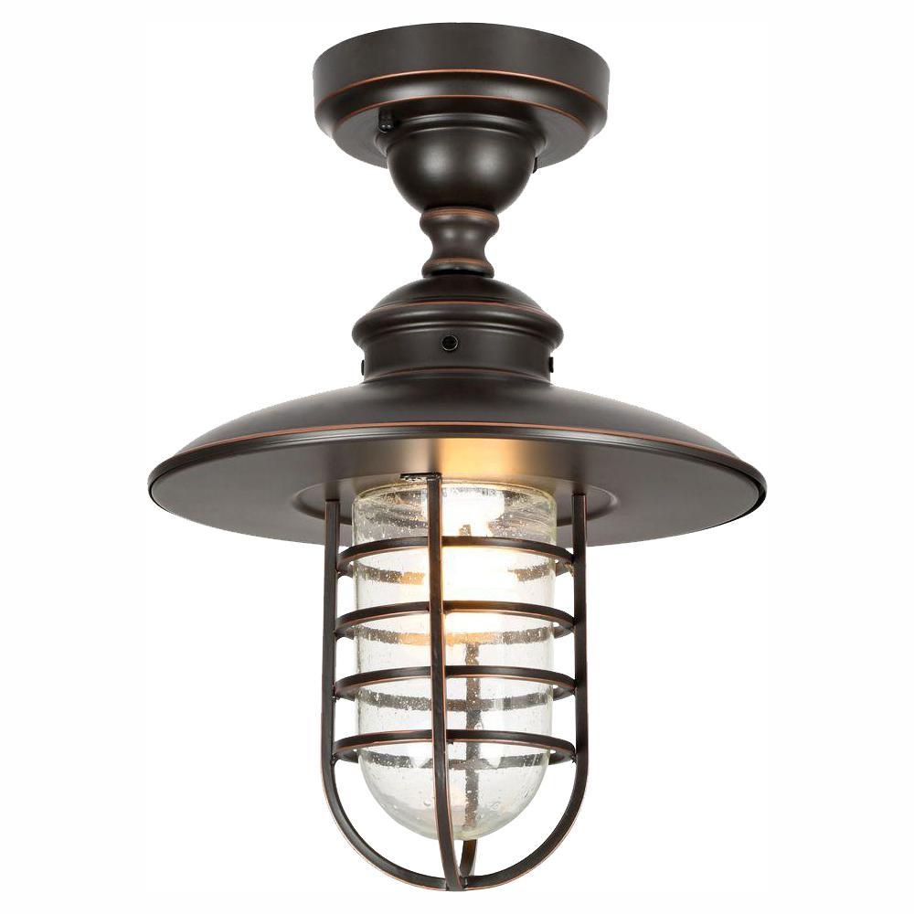 Dual-Purpose 1-Light Outdoor Hanging Oil-Rubbed Bronze Pendant or Flushmount Lantern