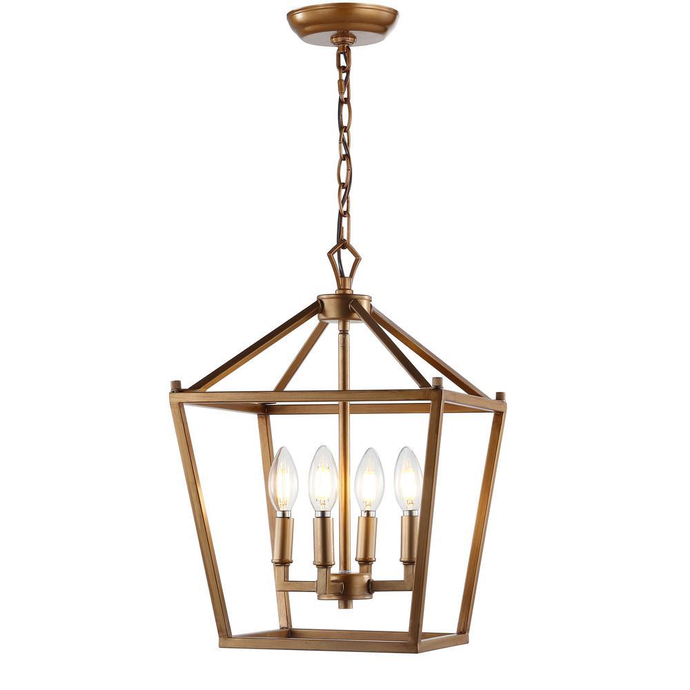 Pagoda 12 in. 4-Bulb Antique Gold Lantern Metal LED Pendant