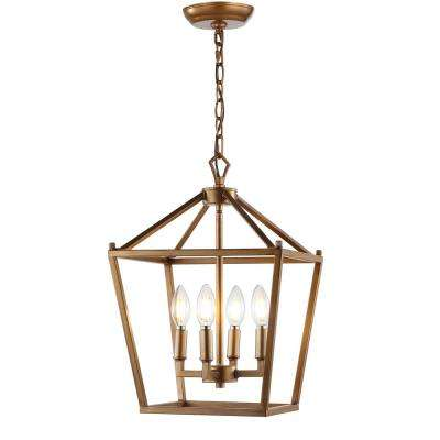 Pagoda 12 in. 4-Bulb Antique Gold Lantern Metal LED Pendant
