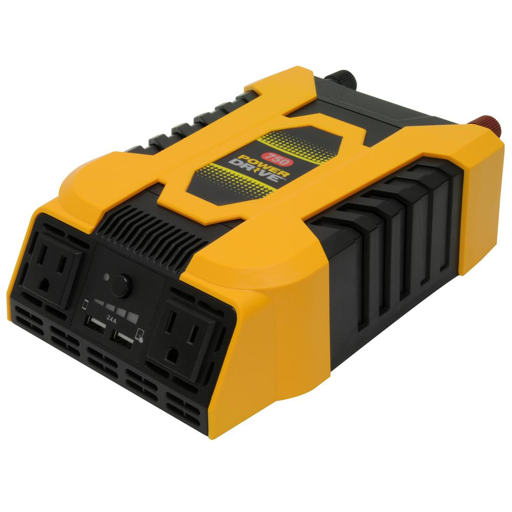 Powerdrive 750 Watt Dc To Ac Power Inverter With 2 Ac And
