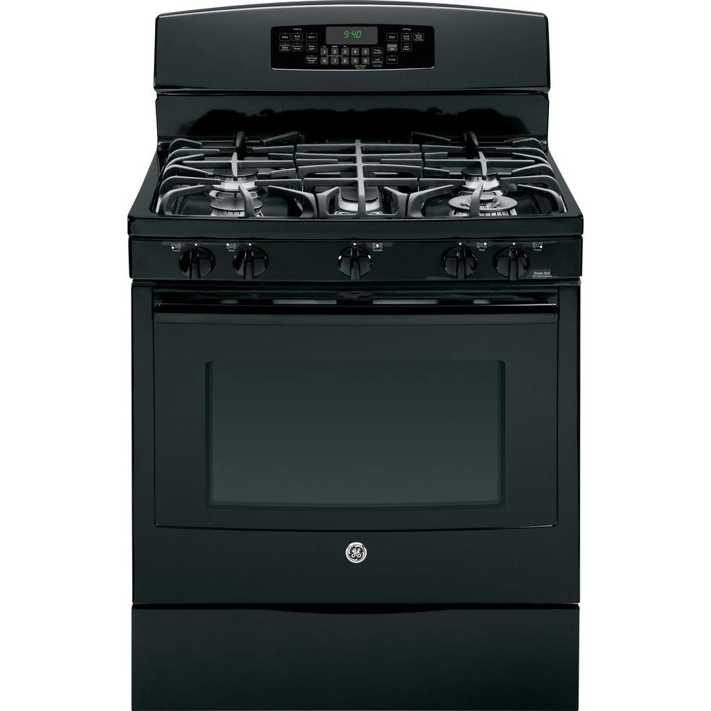 GE Profile 5.6 cu. ft. Dual Fuel Range with Self-Cleaning Convection Oven in Black
