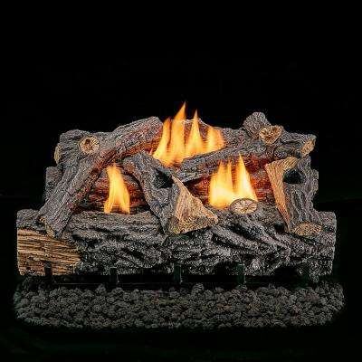30 in. Vent-Free Dual Fuel Gas Log Set in Traditional Oak with Thermostat Control