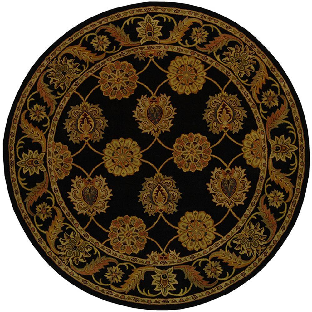 safavieh heritage black 3 ft 6 in x 3 ft 6 in round area rug hg314a 4r the home depot. Black Bedroom Furniture Sets. Home Design Ideas