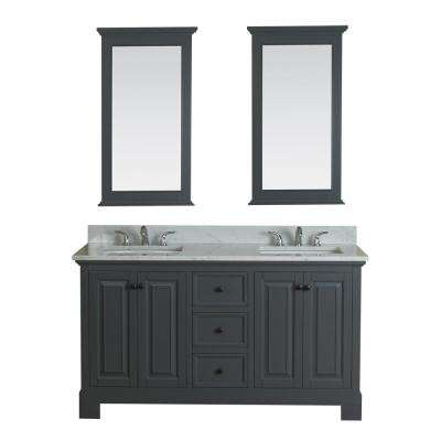 Richmond 60 in. W x 22 in. D Vanity in Gray with Marble Vanity Top in White with White Basin and Mirror