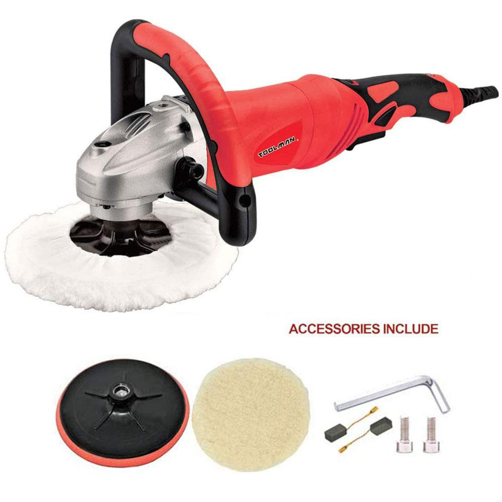 Boyel Living 12-Amp Corded 7 in. Electronic Polishing Buffer Waxer Disc Sander 6 Variable Speed Machine with Wool and Sandpaper
