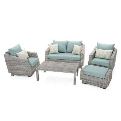 Cannes 5-Piece Aluminum All-Weather Wicker Patio Love and Club Seating Set with Spa Blue Cushions