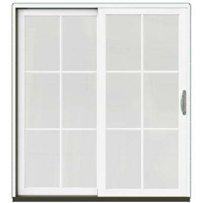 72 in. x 80 in. W-2500 Contemporary Silver Clad Wood Right-Hand 6 Lite Sliding Patio Door w/White Paint Interior