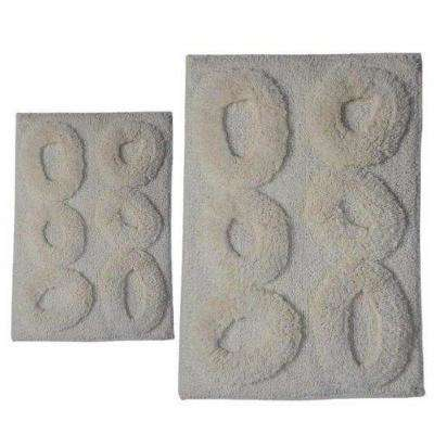 Pebble Ivory 17 in. x 24 in. and 40 in. x 24 in. 2-Piece Bath Rug Set