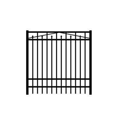 Adams 5 ft. W x 6 ft. H Black Aluminum 4-Rail Fence Gate