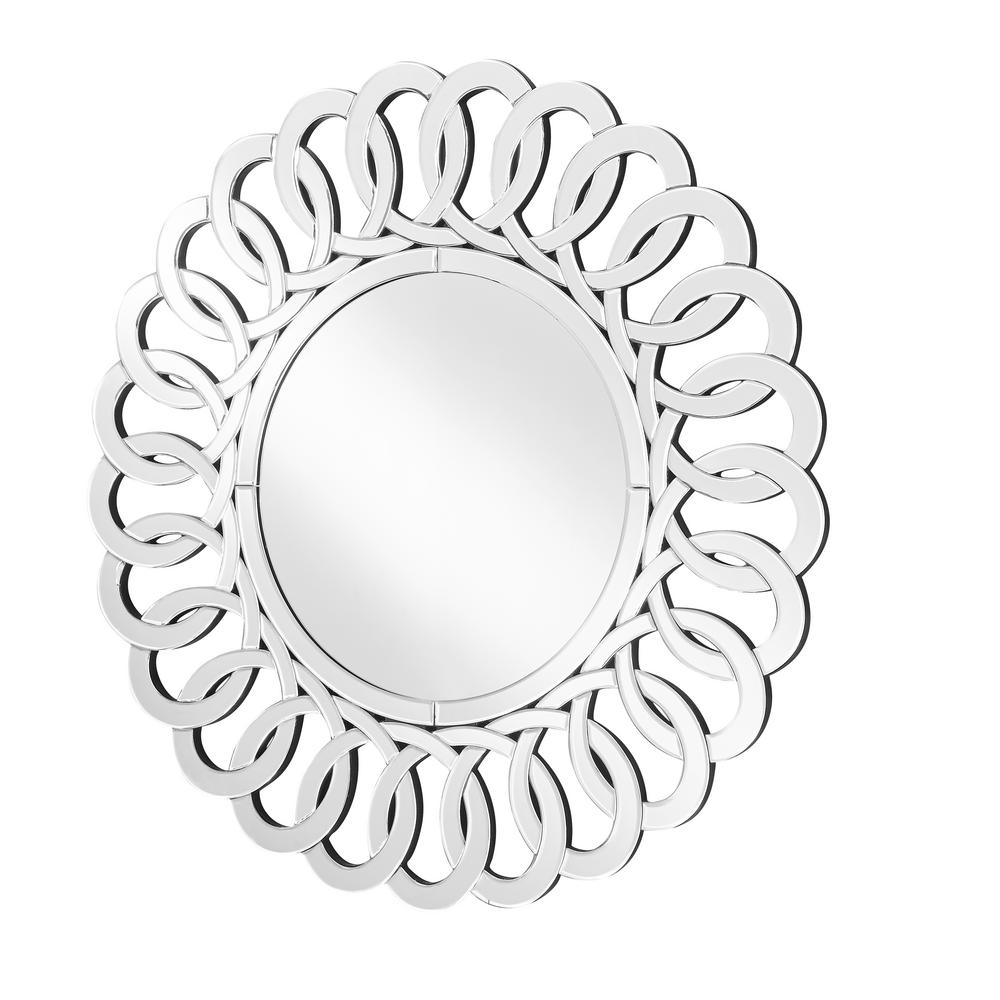 Decor Flair Emory 31.5 in. Contemporary Round Mirror with Clear MDF ...