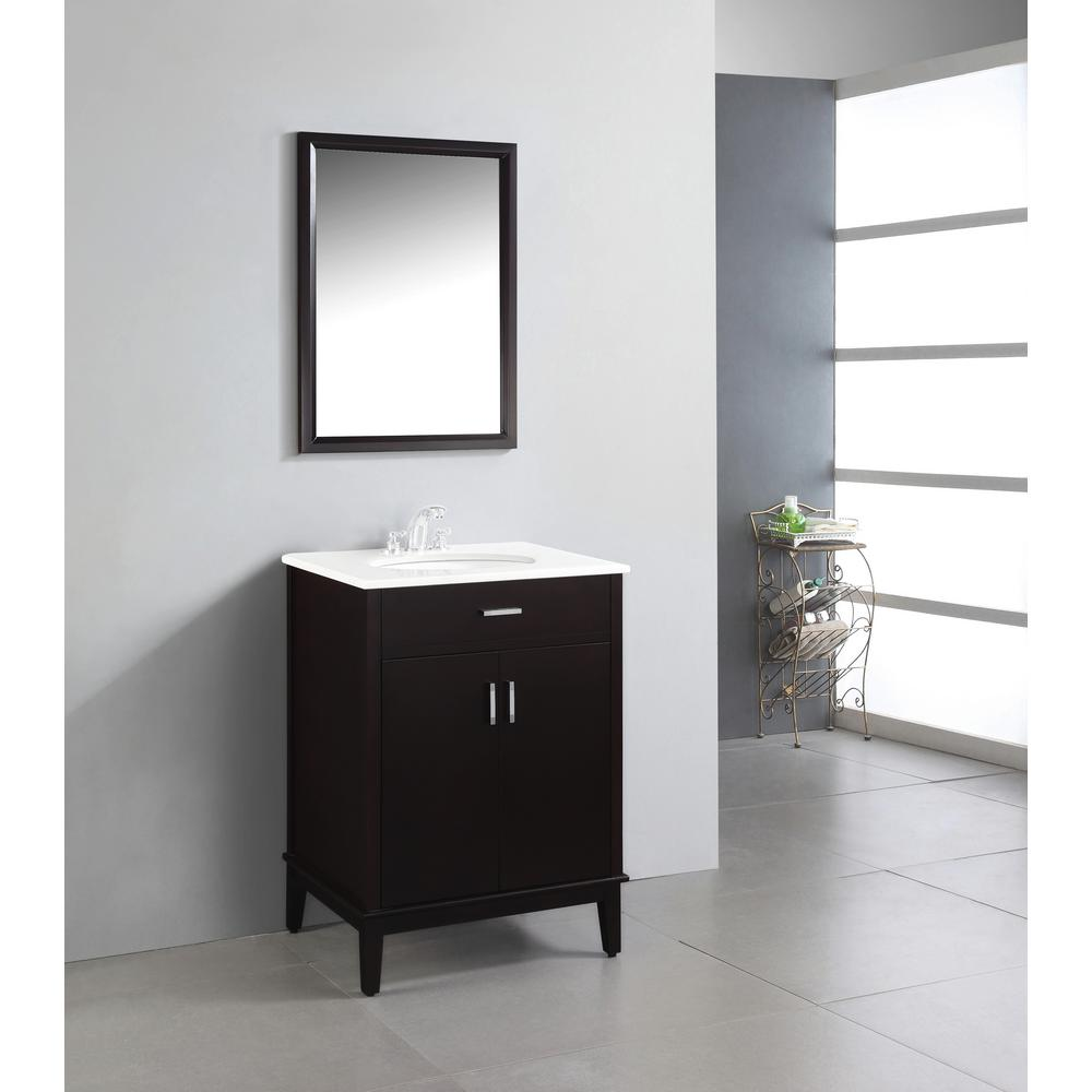 Simpli Home Urban Loft 24 In. Vanity In Espresso Brown With Quartz Marble  Vanity Top