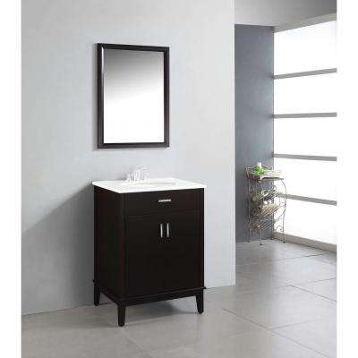 Urban Loft 24 in. Vanity in Espresso Brown with Quartz Marble Vanity Top in White and Under-Mounted Oval Sink