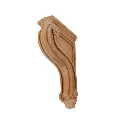 8 in. x 2 in. x 4-3/4 in. Unfinished Small North American Solid Cherry Classic Traditional Plain Wood Corbel