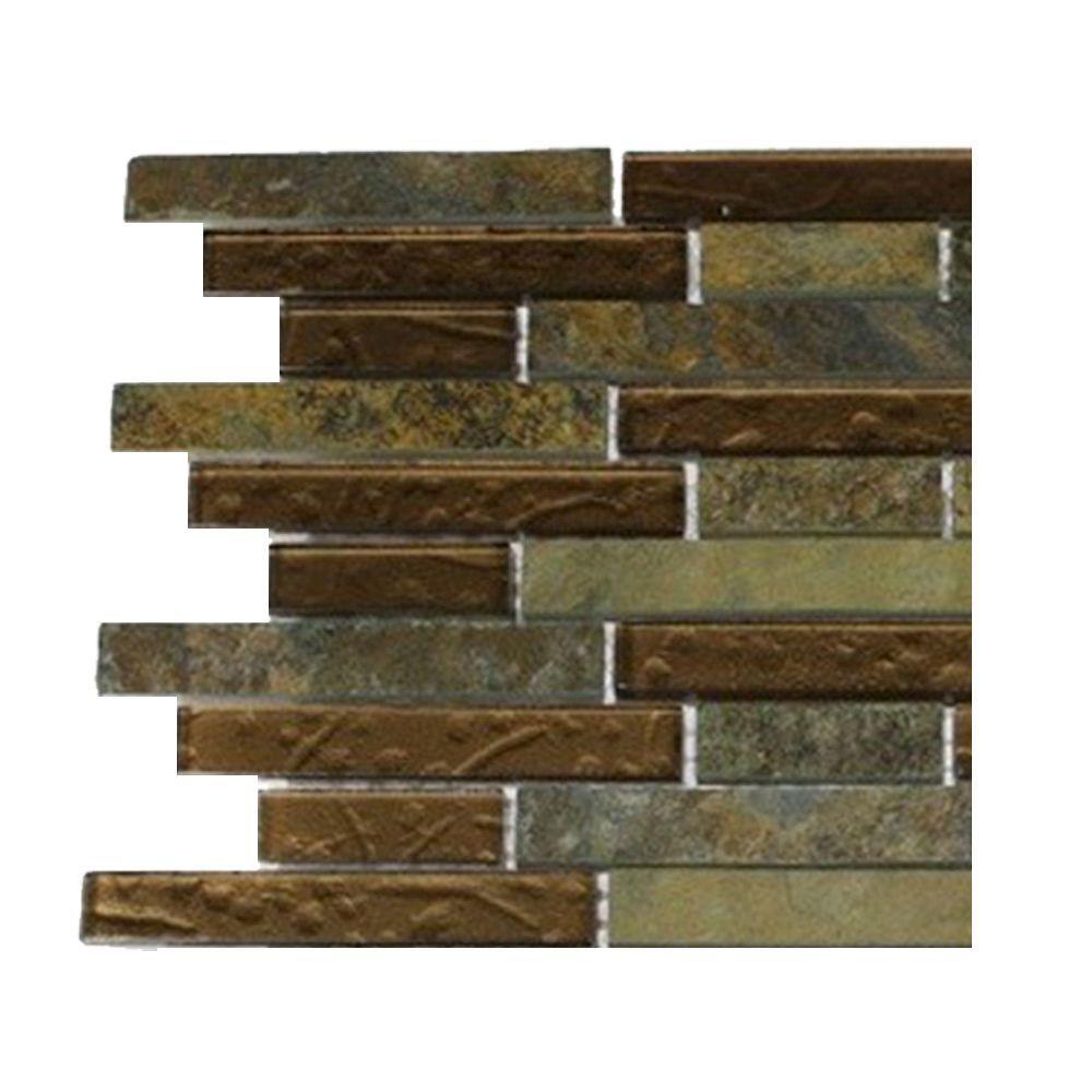 Splashback Tile Tectonic Harmony Multicolor Slate and Bronze Glass Tile Sample