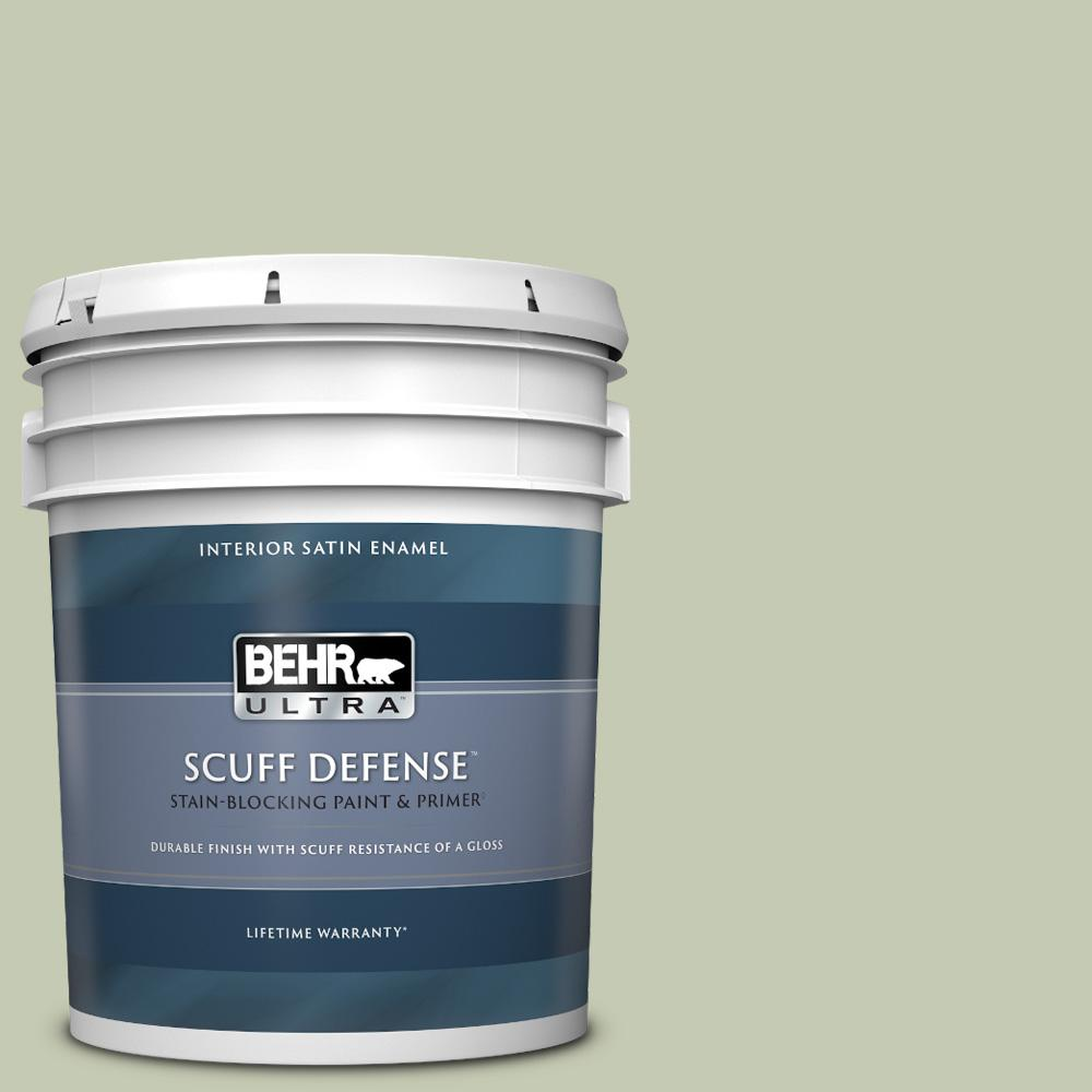 Behr Ultra 5 Gal 420e 3 Spring Hill Extra Durable Satin Enamel Interior Paint Primer 775405 The Home Depot