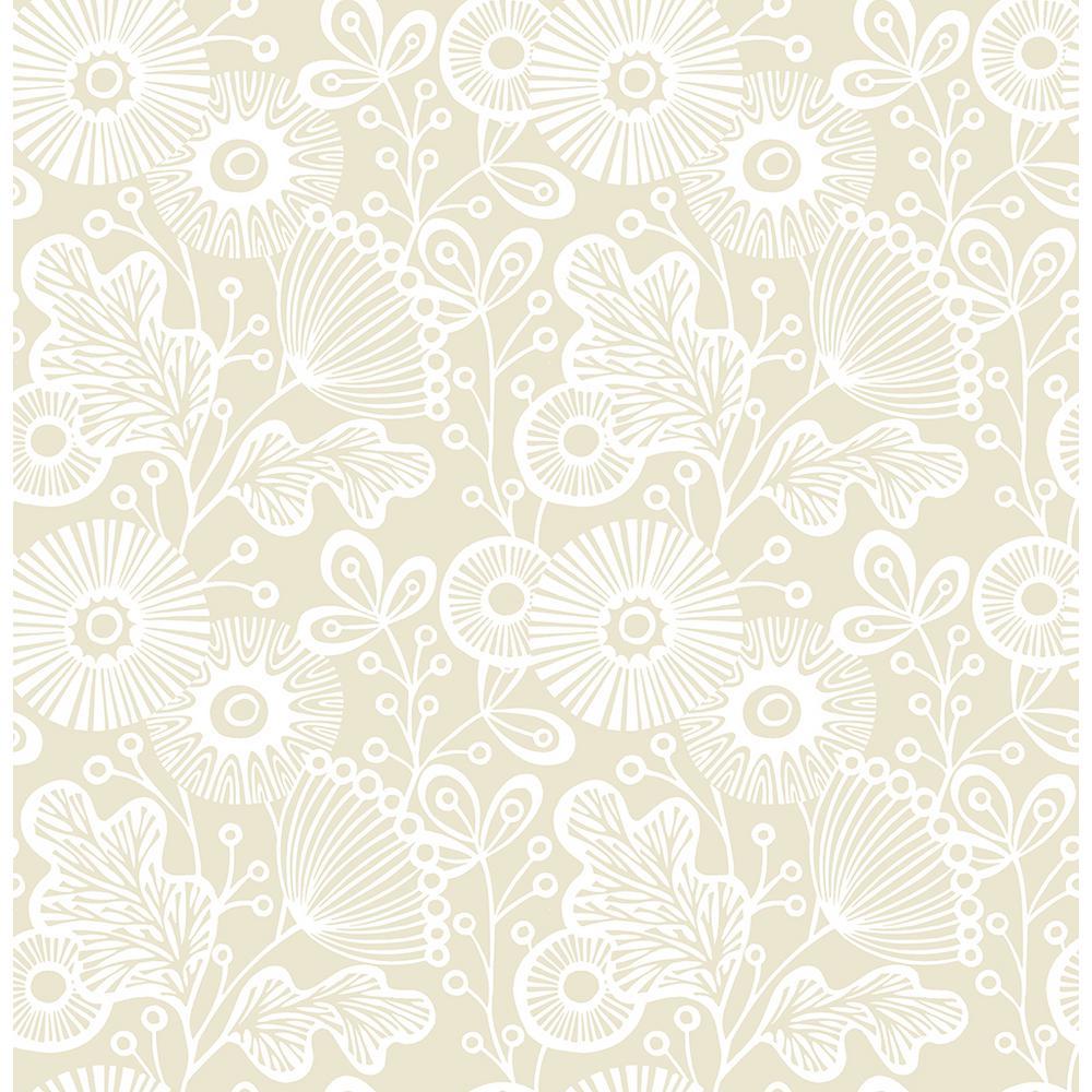 A Street Ana Cream Floral Cream Wallpaper Sample 21 sam The Home Depot