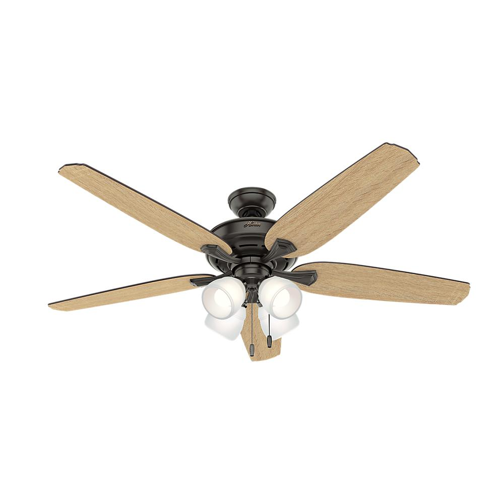 Hunter Summerlin 48 Noble Bronze Ceiling Fan With Light: Hunter Channing 60 In. LED Indoor Noble Bronze Ceiling Fan