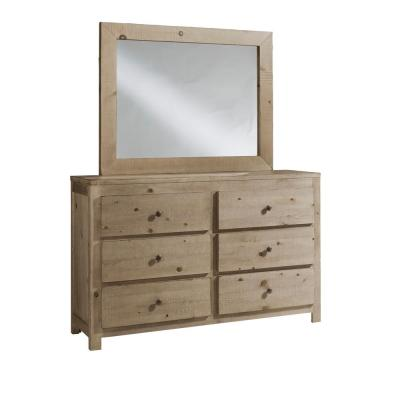 Wheaton 6-Drawer Natural Dresser with Mirror