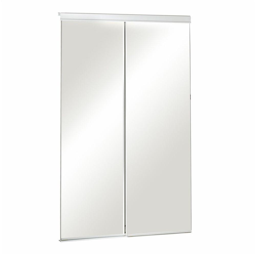 Pinecroft 48 in. x 80 in. Mirror Bevelled White Frame Aluminum Sliding Door