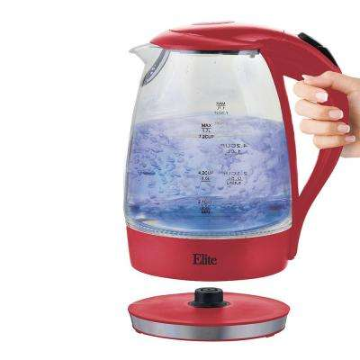 1.7 Liter 7 Cup Cordless Glass Kettle Red Color