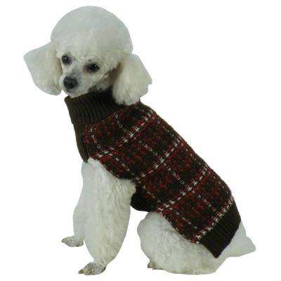 Medium Mud Brown and Red and White Vintage Symphony Static Fashion Knitted Dog Sweater