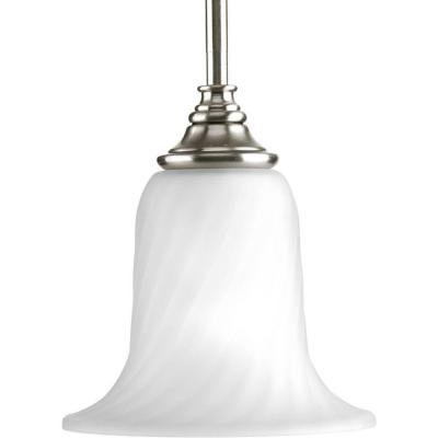 Kensington Collection 1-Light Brushed Nickel Mini Pendant with Swirled Etched Glass