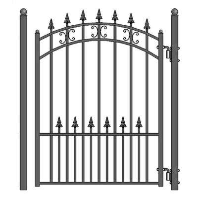 St. Petersburg Style 4 ft. x 5 ft. Black Steel Pedestrian Fence Gate
