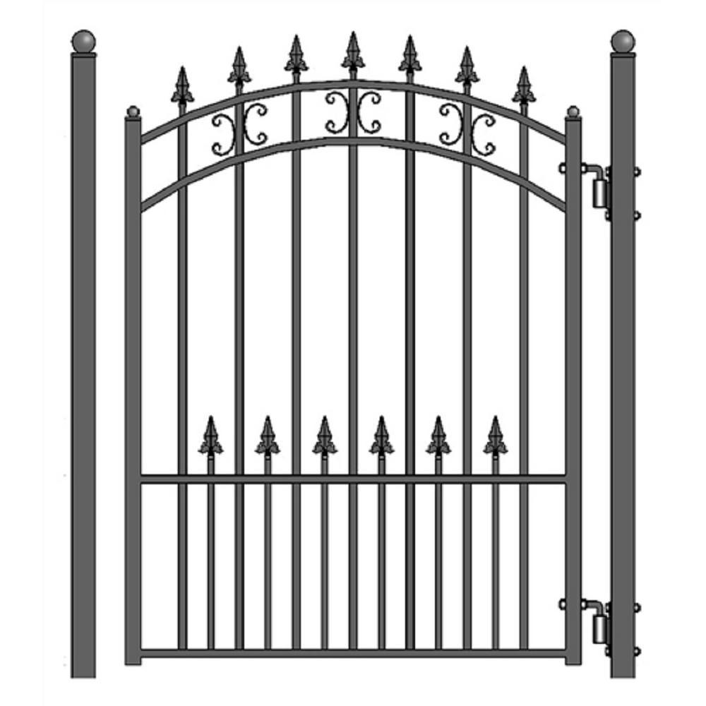St. Petersburg Style 4 ft. x 5 ft. Black Steel Pedestrian Fence Gate