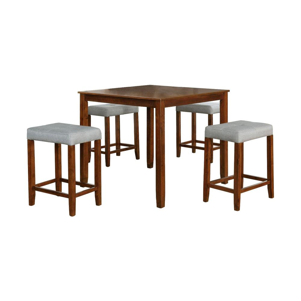 5-Piece Solid Wood Dining Set With Gray Color Seats-61216