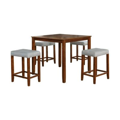 Nathaniel Home 5-Piece Solid Wood Dining Set with Gray Color Seats, Brown