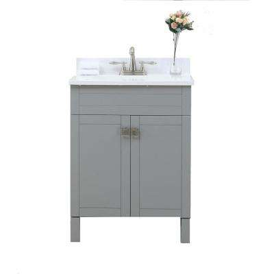 25 in. Vanity in Gray with Cultural Marble Vanity Top in White with White Basin