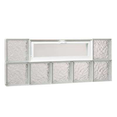 38.75 in. x 15.5 in. x 3.125 in. Ice Pattern Glass Block Masonry Window with Vent